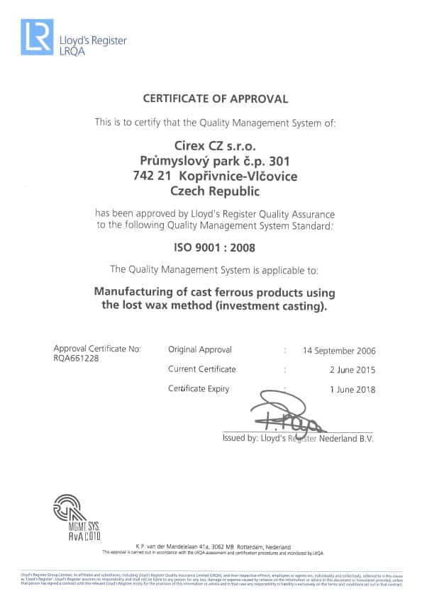 ISO 9001 CZ TSJECHIË