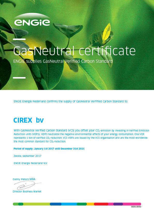 CIREX GasNeutral Certificate